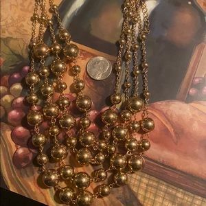 4 Strand Shiny Gold Ball Necklace w/Earrings NEW